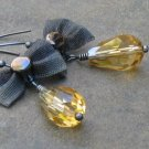 Golden Topaz Teardrops, Mesh Gunmetal Bows on Hand Formed Almond Earrings