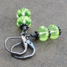 Lime Rickey Gunmetal Earrings on Leverbacks - Bright Lime Green!