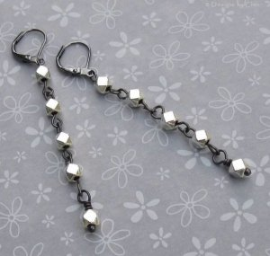 Silver Squares on Gunmetal - Simple Stiletto Danglers - Matches Necklace!