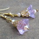 Violet Glass Trumpet Flowers, Gold Filigree & Swarovski Crystal Earrings