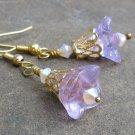 Violet Glass Trumpet Flowers, Gold Filigree & Swarovski Crystal Earrings