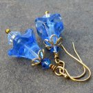 Sapphire Blue Glass Flower Swarovski Crystal Earrings