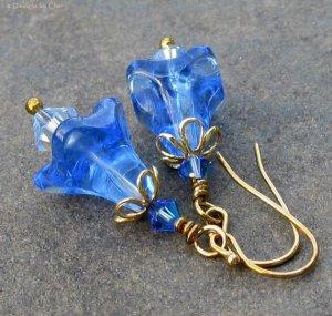 Sapphire Blue Glass Flower Swarovski Crystal Earrings