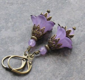 Lavender Jade & Lucite Flower Earrings, Antique Brass Leverbacks... Vintage Inspired