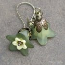 Two Tone Lucite Flower Earrings, Antique Brass Handmade Earwires