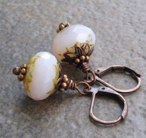 Shabby Chic Pink Opal Glass Earrings, Antique Copper Leverbacks
