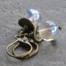 Aurora Borealis Glass Bubble Earrings, Antique Brass Leverbacks