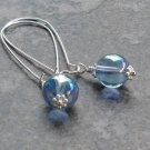 Blue Bubble Earrings, Long Silver Kidney Earwires, Aurora Borealis Glass