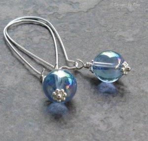 Blue Bubble Earrings, Long Silver Kidney Earwires, Aurora Borealis Glass