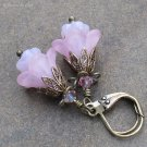 Pink Glass & Lucite Flower Earrings on Antique Brass Leverbacks