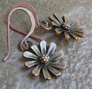 Dainty Daisy Dangle Earrings, Antique Copper Handmade Earwires