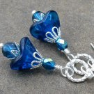 Peacock Blue Glass Flower Earrings, Handmade Silver Earwires