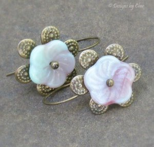 Petite Glass Pinwheel Earrings, Antique Brass Petal and Earwires