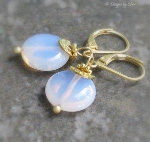 Pink Opalite Earrings, Gold Satin Leverbacks... Dainty Danglers