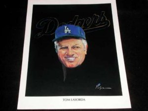 TOMMY LASORDA LOS ANGELES DODGERS BASEBALL MLB WORLD SERIES TRIBUTE POSTER