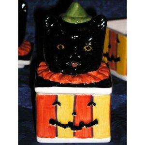 BLACK CAT MAGIC HALLOWEEN HOLIDAY CERAMIC TRINKET BOX