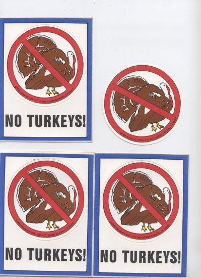 NO TURKEY STICKER SET / Novelty Turkey Food Art Decor Accent Stickers