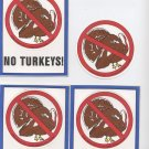 NO TURKEY STICKER SET / Novelty Turkey Food Art Decor Accent Stickers