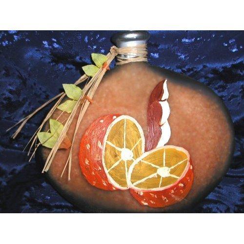 ART GLASS ORANGE CITRUS FRUIT DECORATIVE HAND PAINTED BOTTLE / SMALL CANDLE DECOR ACCENT HOLDER