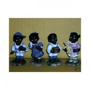 GRANDMA'S JOY TINY TOTS BUSY HANDS BLACK CHILDREN MINIATURE AFRICAN AMERICAN 4pc. STATUE SET