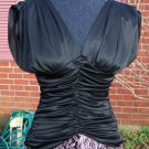 Vintage 70s Ruched Disco Prom Dress Black Pink Lace S