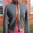 Free People Gray Wool Sweater Jacket Ornate Trim M NWOT