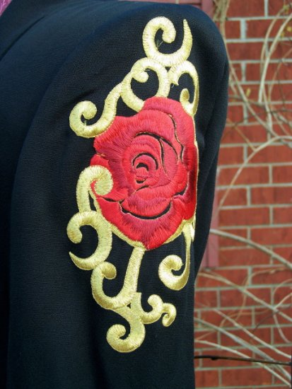 Vintage Cache' Criscione Embroidered Rose Black Blazer Jacket S
