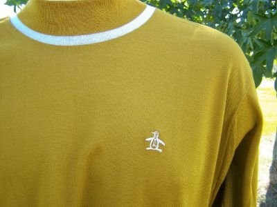 Vintage 60s Munsingwear Grand Slam Gold Penguin Pique Shirt L