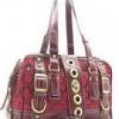 Red/Tan Designer Inspired Twist Lock Signature Bag