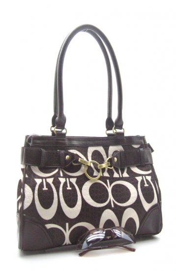 "Monogram ""G"" Black & White Faux Leather Bag"