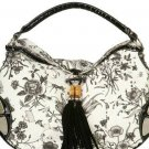 Designer Inspired Black Alligator Floral HoBo Bag