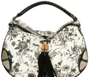 Designer Inspired Black Alligator Floral HoBo Bag