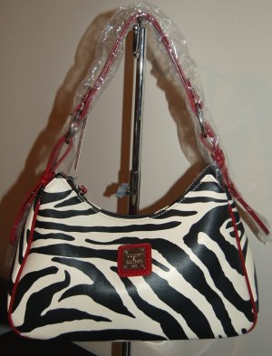 Designer Dooney Shoulder Zebra Print Faux Leather Bag