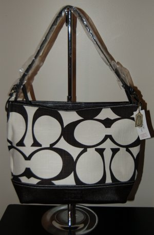 Linen C Bag with Faux Leather Trim