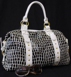Black & White Designer Inspired Tote Handbag