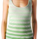 LUCKY BRAND JEANS WOMENS GREEN DIP DYE STRIPE RIB TANK TOP SHIRT L LARGE NEW NWT