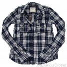 ABERCROMBIE & FITCH WOMENS HAILEY PLAID BUTTON DOWN SHIRT TOP NAVY WHITE M NWT