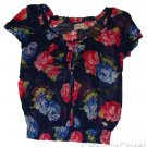ABERCROMBIE & FITCH LARA NAVY FLORAL SHEER RUFFLE CHIFFON BLOUSE SHIRT TOP S NWT