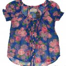 ABERCROMBIE & FITCH LEANNE FLORAL SHEER RUFFLE CHIFFON BLOUSE SHIRT TOP XS NWT