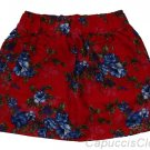 HOLLISTER CALIFORNIA BETTYS PIER VIEW BEACH RED FLORAL COTTON MINI SKIRT M NWT
