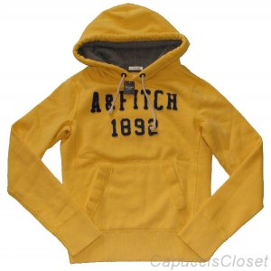 ABERCROMBIE & FITCH MENS MASON MOUNTAIN YELLOW HOODIE FLEECE SWEATSHIRT SZ S NWT