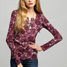 LUCKY BRAND JEANS WOMENS CARLY ROSE PRINT PINK HENLEY TEE SHIRT TOP XL NEW NWT