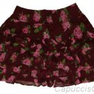 ABERCROMBIE & FITCH SAMANTHA BURGUNDY FLORAL FLIRTY RUFFLE MINI SKIRT XS NEW NWT