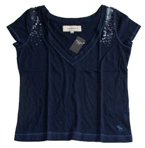 ABERCROMBIE & FITCH WOMENS MARLIE NAVY SEQUIN EMBELLISHED TEE SHIRT TOP SZ S NWT