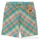 ROXY BY QUICKSILVER JUNIORS SEAFOAM MADRAS PLAID BERMUDA KNEE SHORTS SZ 3 NWT