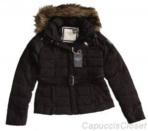 ABERCROMBIE & FITCH RENEE BROWN DOWN FILL FAUX FUR HOODED PARKA COAT S NWT $220