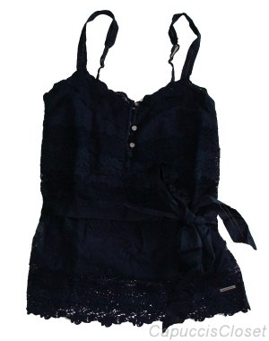 ABERCROMBIE &amp; FITCH GWEN NAVY BLUE LACE BELTED CAMI TANK TOP SHIRT S NEW NWT $98