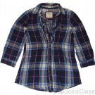 ABERCROMBIE & FITCH WOMENS JESSA NAVY PLAID BUTTON DOWN TUNIC SHIRT XS NEW NWT