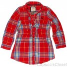 ABERCROMBIE & FITCH WOMENS JESSA RED PLAID BUTTON DOWN TUNIC SHIRT SZ L NEW NWT