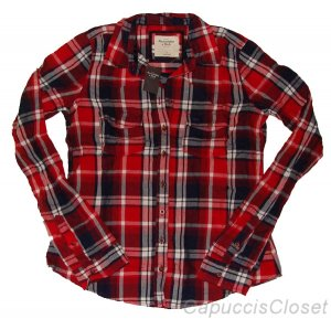 ABERCROMBIE & FITCH WOMENS HAILEY PLAID BUTTON DOWN SHIRT TOP RED NAVY M NEW NWT